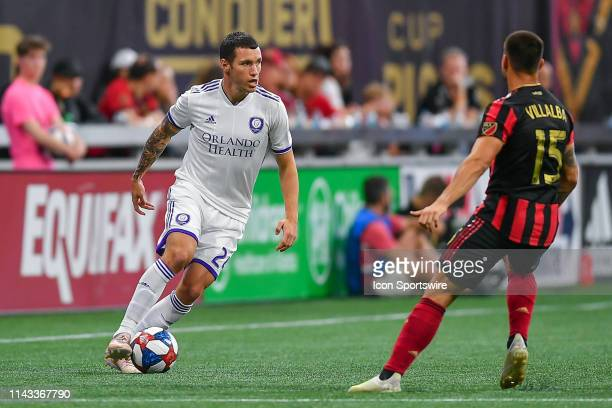 Orlando's Kyle Smith looks to make a move during the MLS match between Orlando City SC and Atlanta United FC on May 12th 2019 at Mercedes Benz...