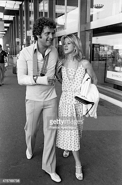 Orly France Joe Dassin French singer with girlfriend at the Orly airport