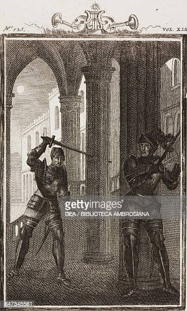 Ormondo with a drawn sword chasing Henry engraving by F Zuliani from a drawing by G Steneri from Henry Act III Scene 2 Comedies Volume 42 by Carlo...