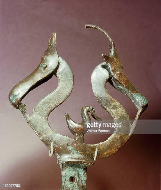 Ornament in the shape of a pair of horses heads From a cult boat Denmark Pre Viking Bronze Age Jutland