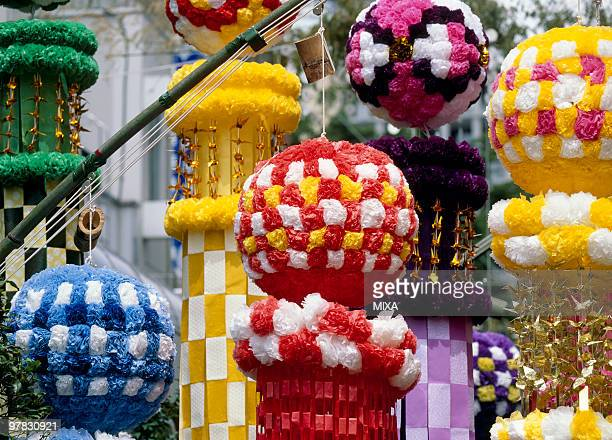 ornament of star festival, sendai, miyagi, japan - tanabata festival stock pictures, royalty-free photos & images