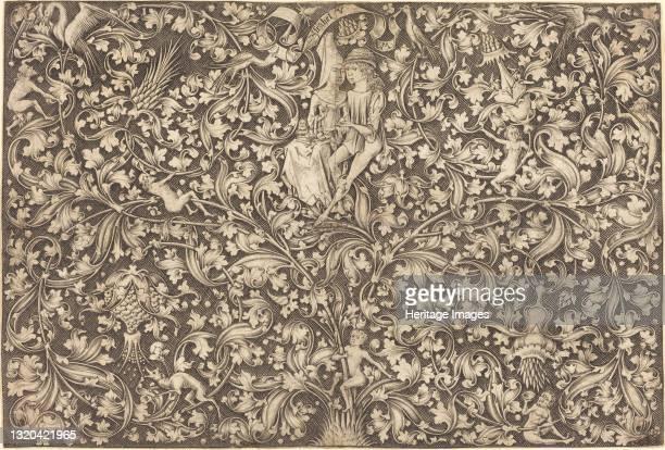 Ornament Panel with Two Lovers, circa 1490/1500. Artist Israhel van Meckenem.