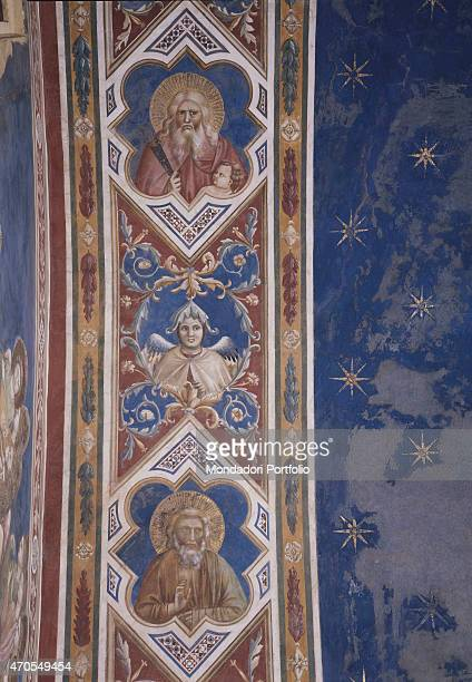 Ornamental band by Giotto 13031305 14th Century fresco Italy Veneto Padua Scrovegni Chapel After restoration picture Detail A segment of the...
