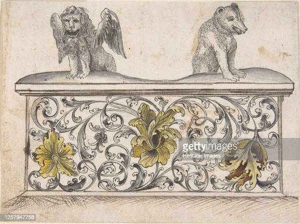 Ornamental design for front of a chest with winged lion and bear 19th century Artist Anon