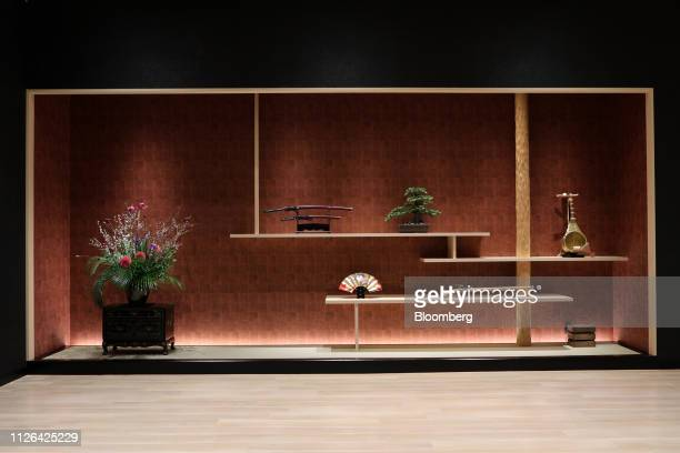 Ornamental items are displayed on a cabinet inside the Solaniwa Onsen spa at Osaka Bay Tower during a media tour in Osaka, Japan, on Thursday, Feb....