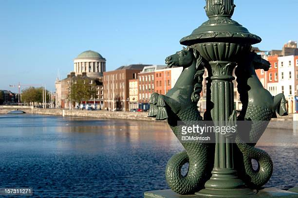 Ornamental lampost base on the Liffy in Dublin