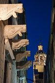 ornamental sculptures building illuminated bell tower