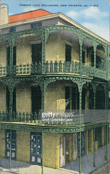 Ornamental wrought iron work and grills on a three story building New Orleans Louisiana 1930