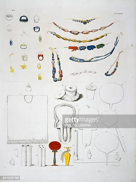 Ornaments and toiletry objects Plate LXXXI from The monuments of Egypt and Nubia civil monuments 18321844 by Ippolito Rosellini