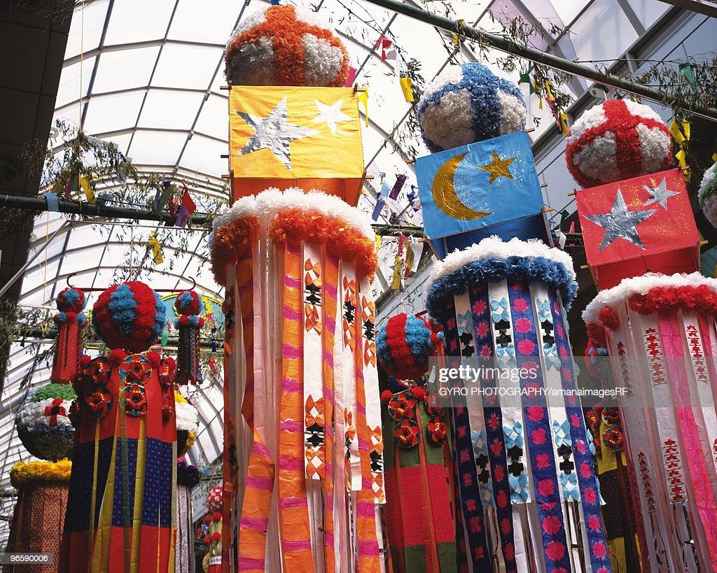 Ornaments for Tanabata festival, Sendai city, Miyagi prefecture, Japan : Stock Photo