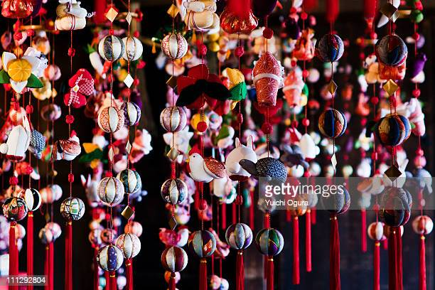 ornaments hanging from the ceiling - hinamatsuri stock pictures, royalty-free photos & images