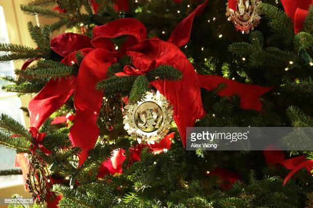 Ornaments on a Christmas tree at the White House during a press preview of the 2017 holiday decorations November 27 2017 in Washington DC The theme...