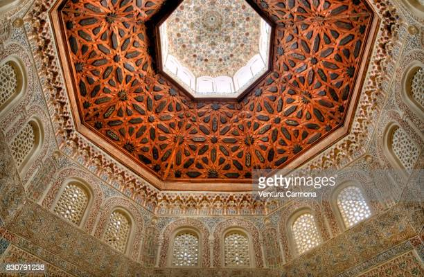 Ornaments on the ceiling in the Madrasah of Granada, Spain