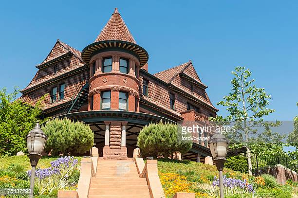 ornate 19th century mansion salt lake city utah - salt lake city utah stock photos and pictures