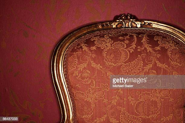 Ornate antique armchair, close-up