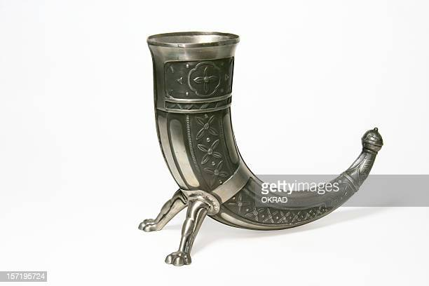 ornate antique norse pewter viking horn