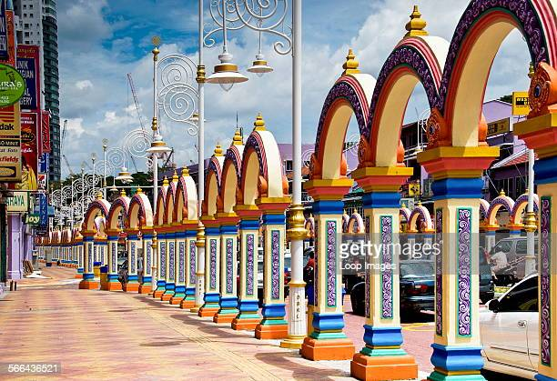Ornate arches on the pavement in Little India in Kuala Lumpur