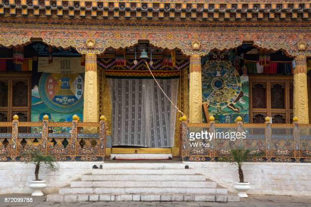 Ornate architectural detail of the Buddhist temple in the Punakha Dzong. Punakha, Bhutan.