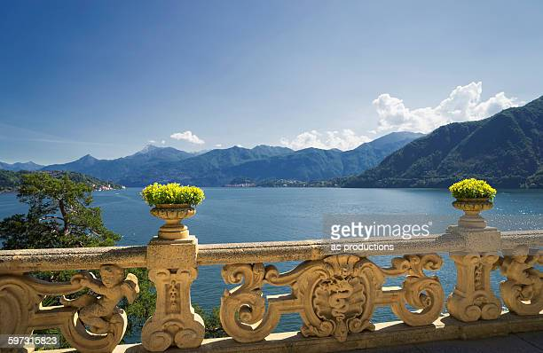 ornate banister at lake como, villa balbianello, lake como, italy - コモ ストックフォトと画像
