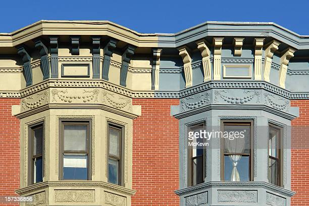 ornate bay windows - erker stockfoto's en -beelden