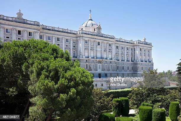 Ornate building and manicured grounds, Madrid, Spain