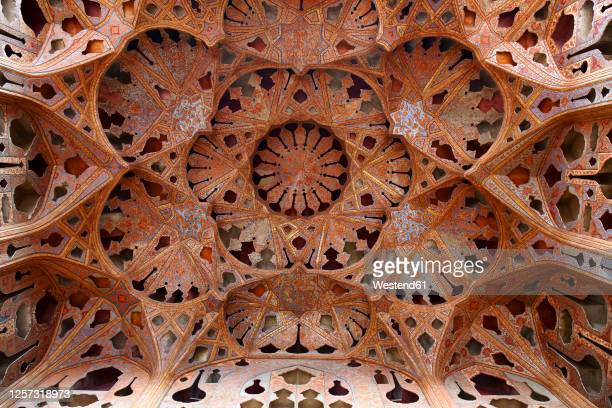 ornate ceiling of music hall, ali qapu palace, isfahan, iran - vaudeville stock pictures, royalty-free photos & images