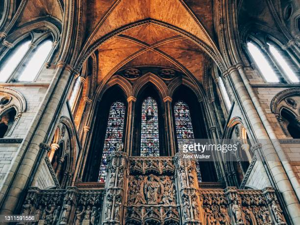 ornate church ceiling and stained glass windows - truro cornwall stock pictures, royalty-free photos & images