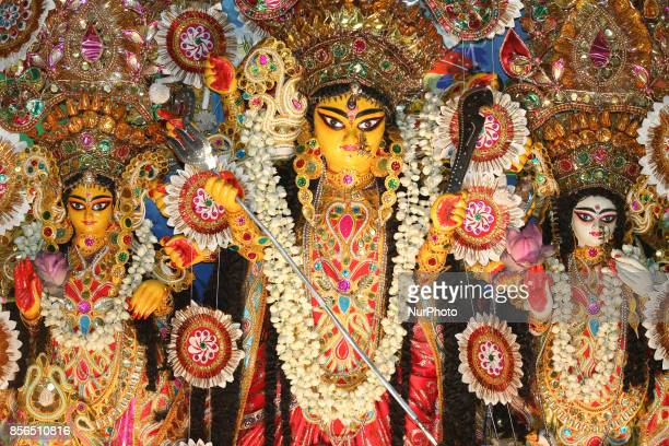 Ornate clay idol of the Goddess Durga adorned during the Durga Puja festival at a pandal in Mississauga Ontario Canada Hundreds of Bengalis attended...