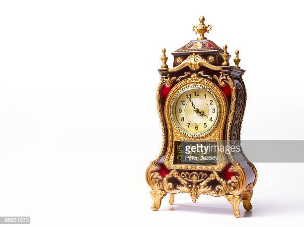 ornate clock with copy space - antique stock pictures, royalty-free photos & images