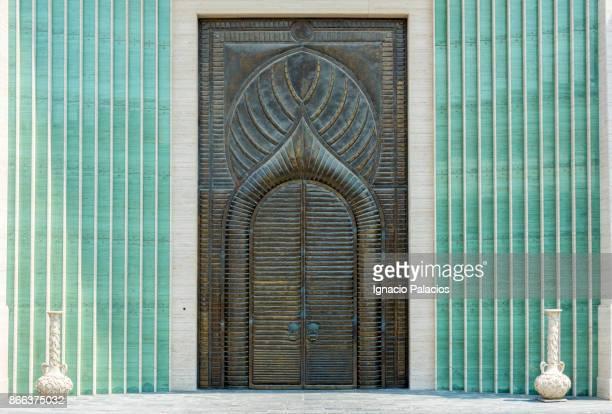 Ornate copper door of the amphitheatre portal, Katara Cultural Village, Doha, Qatar