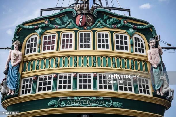 Ornate decorations on ship's windows