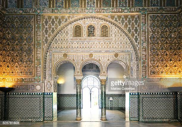 Ornate door inside the Alcazar palace of Seville