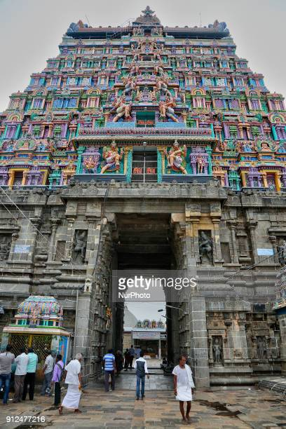 Ornate figures of Hindu deities adorn the gopuram of the Nataraja Temple complex in Chidambaram Tamil Nadu India The Chidambaram Nataraja temple or...