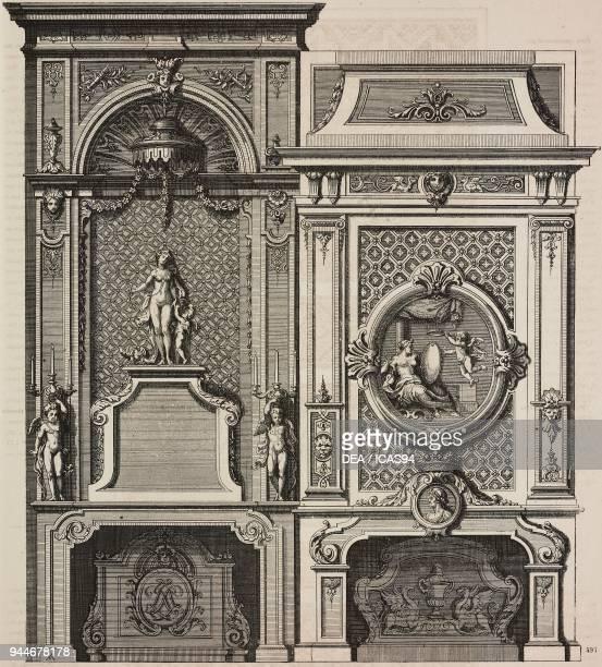 Ornate fireplaces by Jean Berain engraving by Marguerin Daigremont from L'Art pour Tous Encyclopedie de l'art industriel et decoratif by Emile Reiber...
