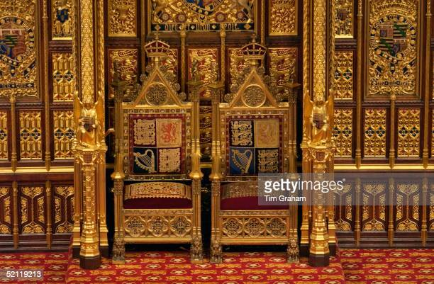 Ornate Gilt Thrones With Insignia For Queen Elizabeth II And Prince Philip In The House Of Lords.