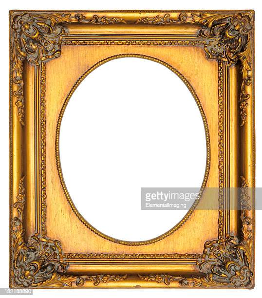 Ornate Gold Oval Portrait Picture Frame. Isolated with Clipping Path