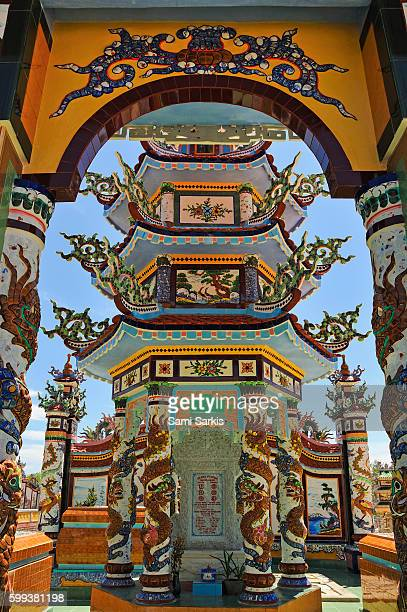 Ornate graves and shrines in the cemetery of An Bang village near Hue city, Vietnam, Southeast Asia