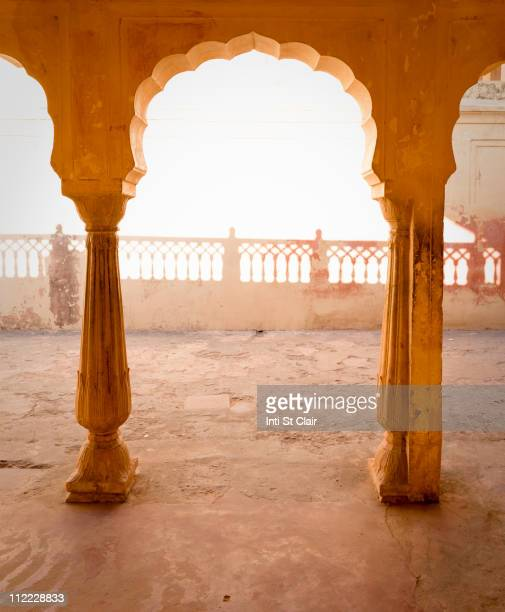 Ornate Indian arch and courtyard
