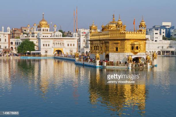 ornate indian building surrounded by water - golden temple india stock photos and pictures