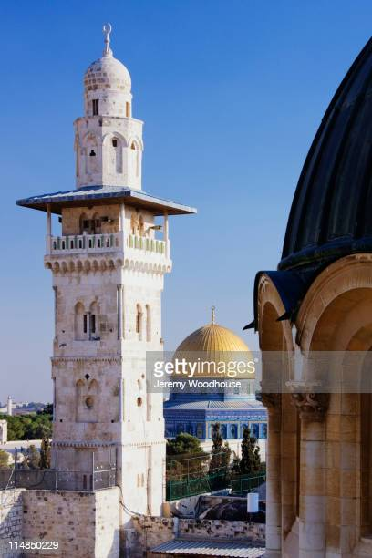 Ornate minaret tower and Dome of the Rock