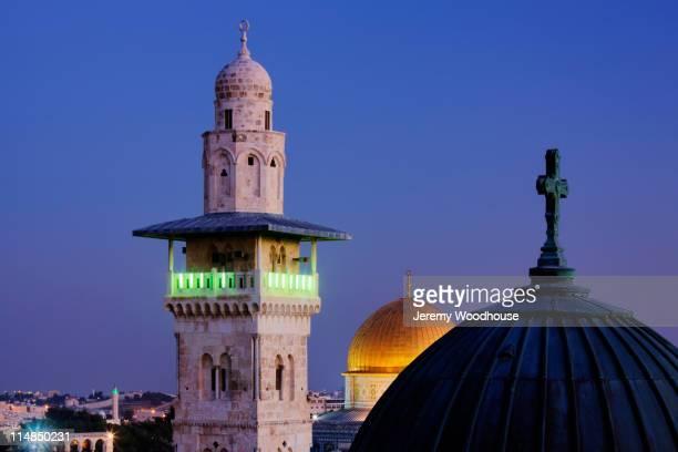 Ornate minaret tower at night