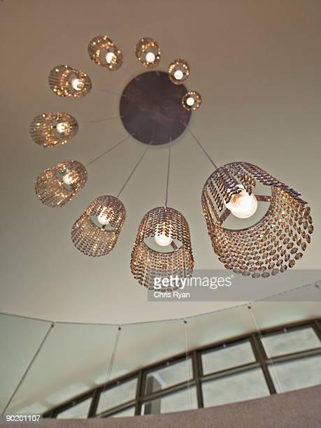 Ornate, modern chandelier  in a modern home