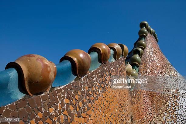 Ornate mosaic roof of Antoni Gaudi's Casa Batllo.