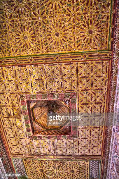 Ornate mosaic work adorns ceiling of the historic Taourirt Kasbah located in the Atlas Mountains in Ouarzazate, Morocco, Africa on 4 January 2016....