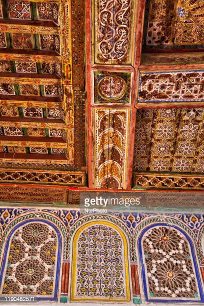 Ornate mosaic work adorns the historic Taourirt Kasbah located in the Atlas Mountains in Ouarzazate, Morocco, Africa on 4 January 2016. The Kasbah...