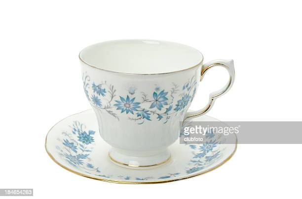 Ornate patterned bone china tea cup and saucer