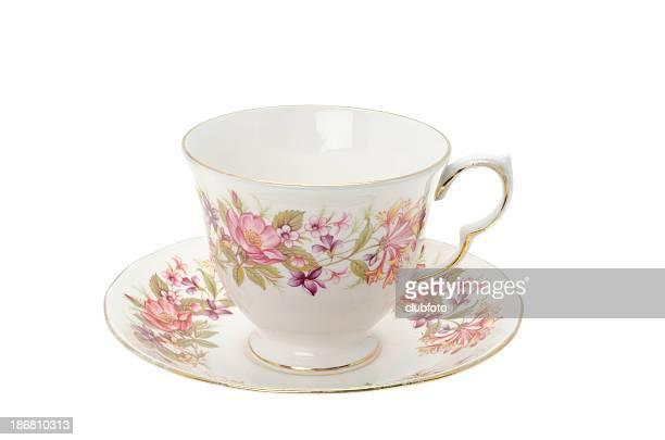 Decorado con diseño de arco iris de la china té taza y platillo