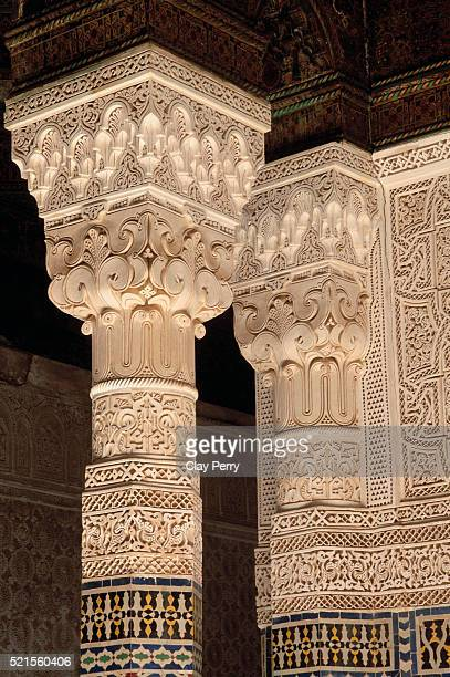 ornate plasterwork columns in telouet kasbah in morocco - telouet kasbah photos et images de collection