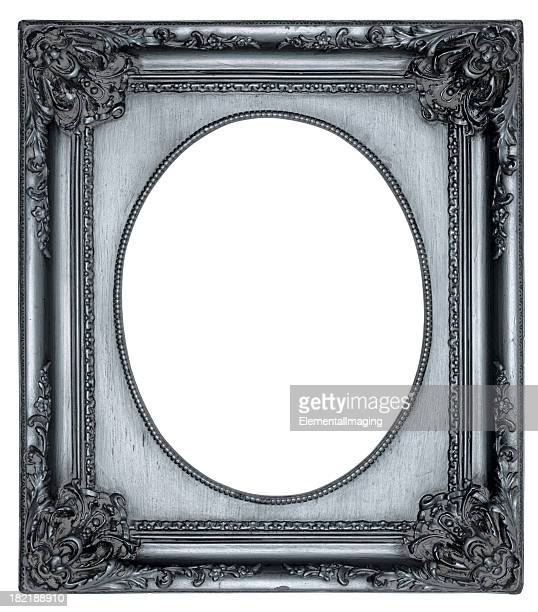 ornate silver oval portrait picture frame. isolated with clipping path - oval shaped objects stock pictures, royalty-free photos & images