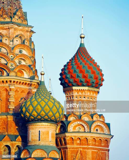 Ornate spiral domes of St Basils Cathedral, Moscow, Central Federal District, Russia